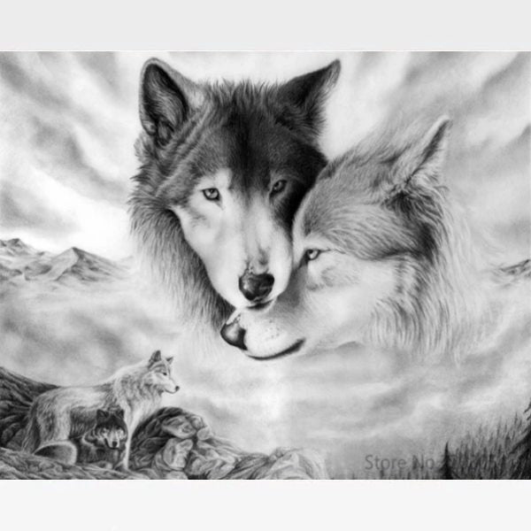 DIY Wolf Painting By Numbers Kit - Wolf Pack - Painting By Numbers Kit - Artwerkes