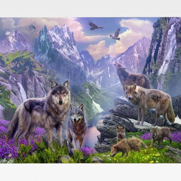 Wolf Paint By Numbers Kit - Wolf Paradise - Painting By Numbers Kit - Artwerkes