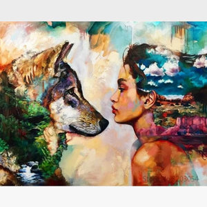 DIY Wolf Painting By Numbers Kit - Wolf & The Princess - Painting By Numbers Kit - Artwerkes