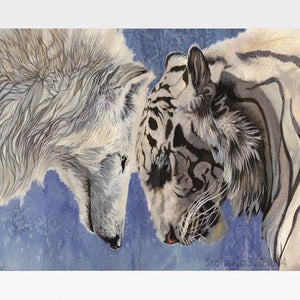 DIY Wolf & Tiger Painting By Numbers Kit - Painting By Numbers Kit - Artwerkes