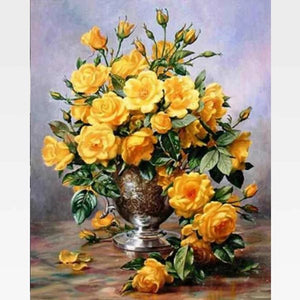 DIY Yellow Roses Paint By Numbers Kit  - Fashionista Blooms - Painting By Numbers Kit - Artwerkes