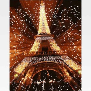 Eiffel Tower At Night Paint By Numbers Kit - Painting By Numbers Kit - Artwerkes