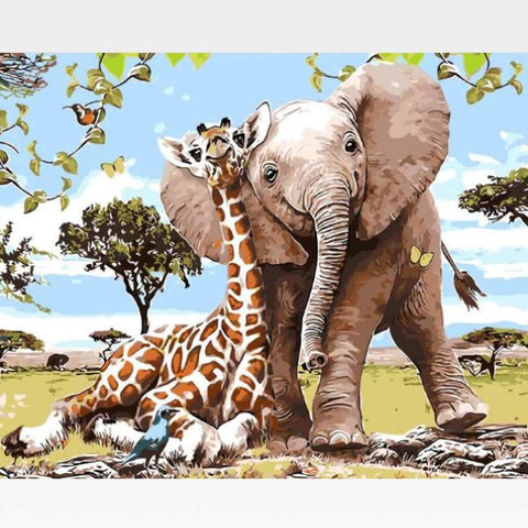 Elephant & Giraffe Paint By Numbers Kit - Painting By Numbers Kit - Artwerkes