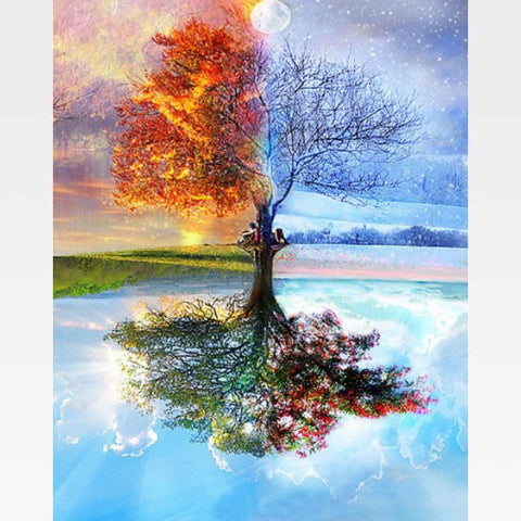 Four Seasons Tree Paint By Numbers Kit For Adults - Painting By Numbers Kit - Artwerkes