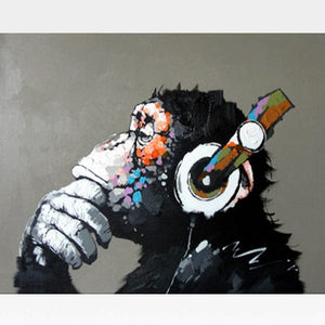 Funky Monkey With Headphones Paint By Numbers Kit - Painting By Numbers Kit - Artwerkes