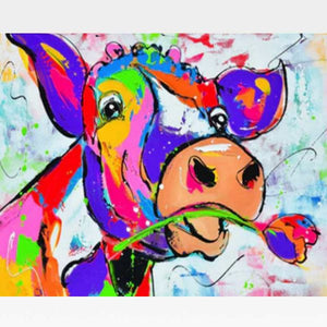 Happy Cow Paint By Numbers Kit - Painting By Numbers Kit - Artwerkes