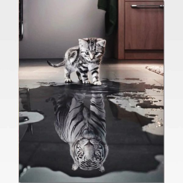 Kitten Reflection Tiger Paint By Numbers Kit - Painting By Numbers Kit - Artwerkes