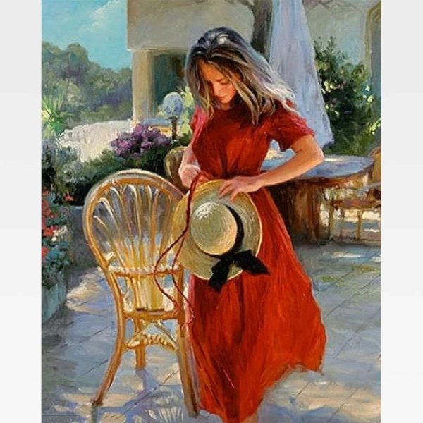 Lady In Red Paint By Numbers - Painting By Numbers Kit - Artwerkes