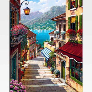 Lake Como Paint By Numbers Kit - Painting By Numbers Kit - Artwerkes