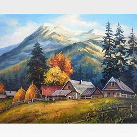 Paint By Numbers Mountain Scene - Painting By Numbers Kit - Artwerkes