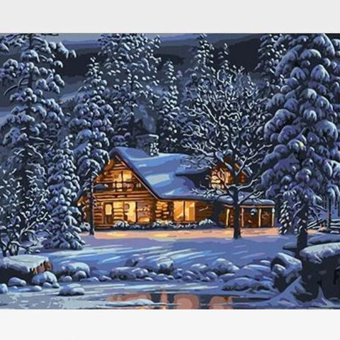 Paint By Numbers Winter Scene  - Winter Cabin - Painting By Numbers Kit - Artwerkes