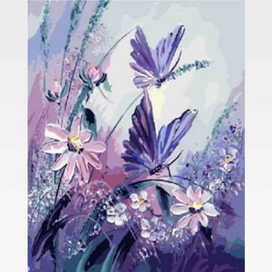 Purple Butterfly Paint By Numbers Kit - Painting By Numbers Kit - Artwerkes