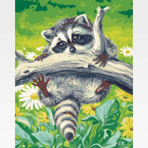 Raccoon Paint By Numbers Kit For Adults - Painting By Numbers Kit - Artwerkes