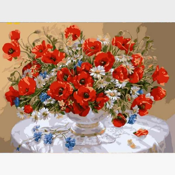 Red Poppy Flowers Paint By Numbers Kit - Painting By Numbers Kit - Artwerkes