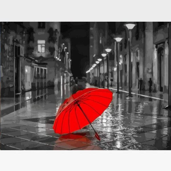 Red Umbrella Paint By Numbers Kit - Painting By Numbers Kit - Artwerkes