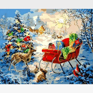 Reindeer and Sleigh Christmas Evening - Paint by Numbers Kit - Painting By Numbers Kit - Artwerkes