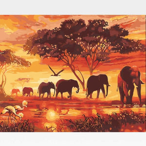 Safari Paint By Numbers Kit For Adults - Painting By Numbers Kit - Artwerkes