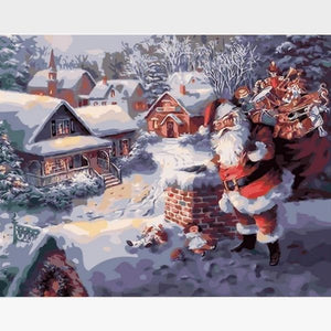 Santa Claus on the Roof - Paint by Numbers Kits - Painting By Numbers Kit - Artwerkes