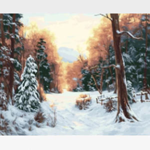 Snow Paint By Numbers Kit  - Snowy Winter - Painting By Numbers Kit - Artwerkes