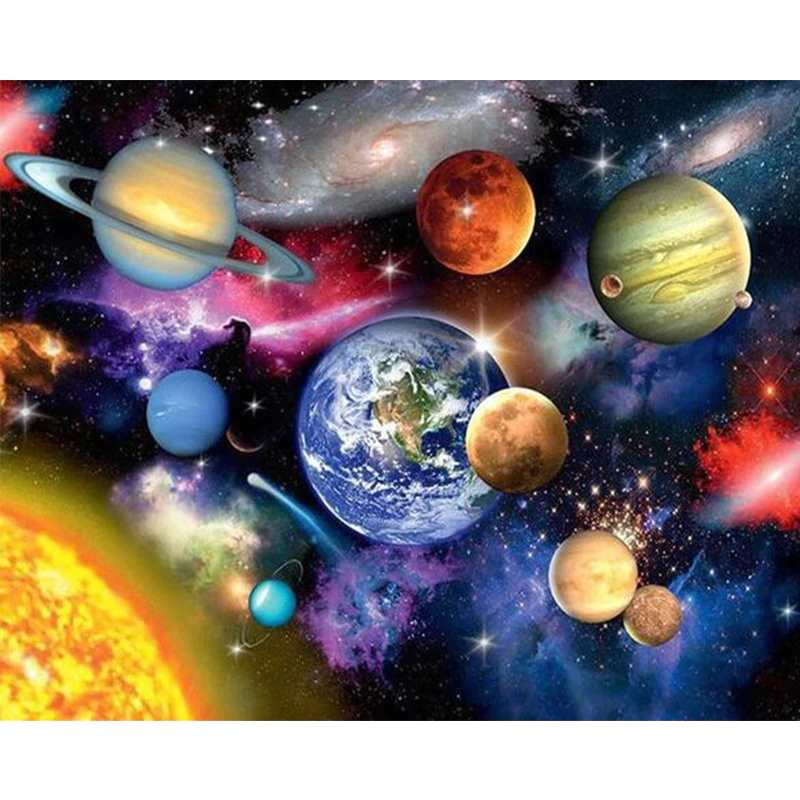 Space Paint By Numbers Kit For Adults - Painting By Numbers Kit - Artwerkes