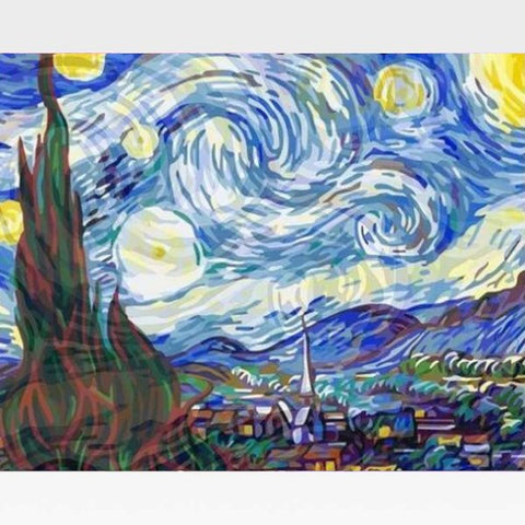 Starry Night - Paint by Numbers Kit - Van Gogh - Painting By Numbers Kit - Artwerkes