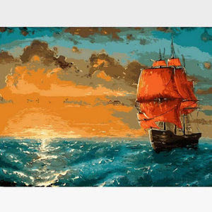 Sunrise At Sea  Paint By Numbers Kit For Adults - Painting By Numbers Kit - Artwerkes