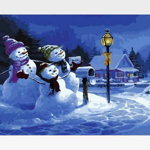 Three Snowmen - Paint by Numbers Kits - Painting By Numbers Kit - Artwerkes