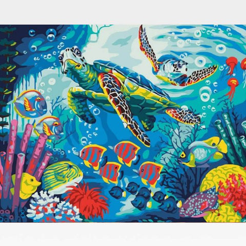 Tropical Fish Paint By Numbers Kit - Painting By Numbers Kit - Artwerkes