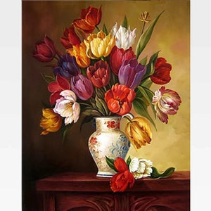 Tulips In A Vase DIY Painting By Numbers Kit - Painting By Numbers Kit - Artwerkes