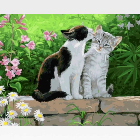 Image of DIY Two Black Cat Painting  By Numbers Kit  - Feline Love - Painting By Numbers Kit - Artwerkes