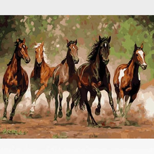 Wild Running Horses Paint By Numbers Kit - Painting By Numbers Kit - Artwerkes
