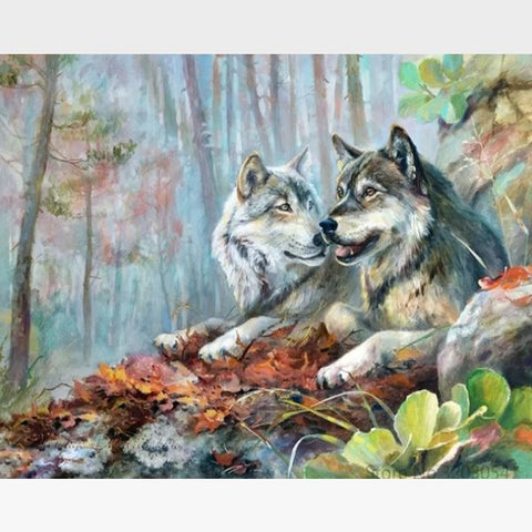 Wolf Mates DIY Animals Painting By Numbers Kit - Painting By Numbers Kit - Artwerkes