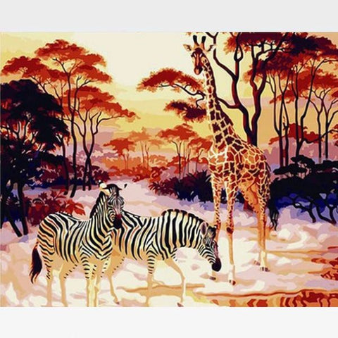 Image of Zebra & Giraffe Paint By Numbers Kit - Garden Of Eden - Painting By Numbers Kit - Artwerkes