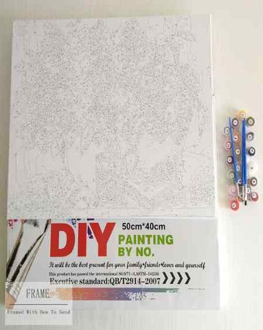 DIY Paint By Numbers Kit Online  - White Horse - Painting By Numbers Kit - Artwerkes