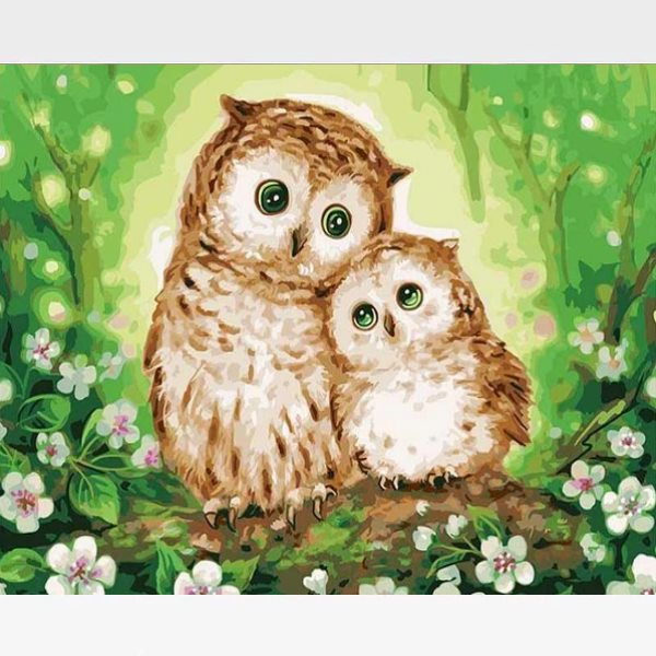 Owl Family Paint By Numbers Kit - Painting By Numbers Kit - Artwerkes