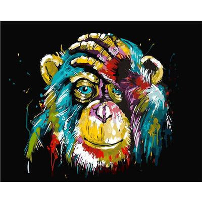 Chimp Paint By Numbers Kit - Painting By Numbers Kit - Artwerkes