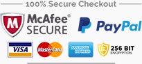 Click to see our certification. McAfee SECURE, PayPal SECURE, 256 BIT encryption site