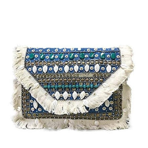Vancouver Blue Shell Canvas Clutch Boho Bag