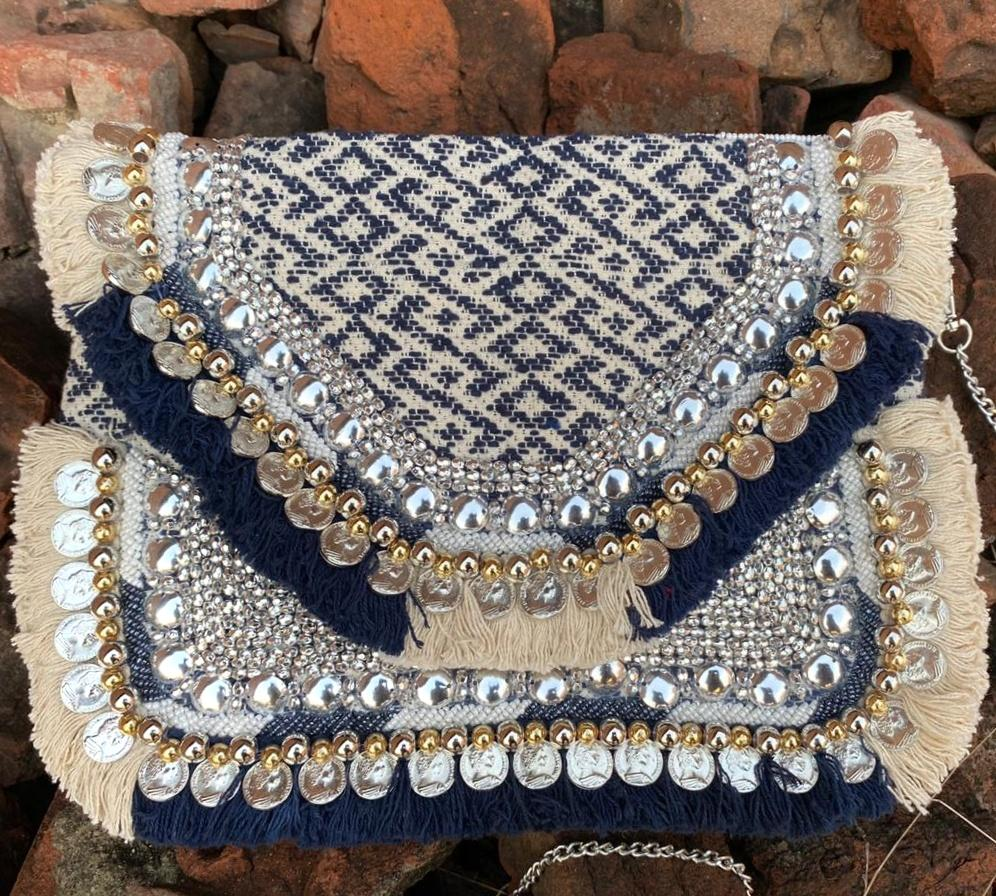 Blue White Jacquard Coin Bohemian Bag