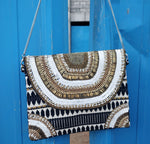 Bellaza Beaded Black & White Jacquard Clutch