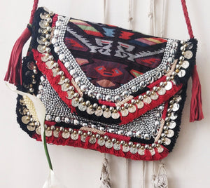 Angelica Multicolored Jacquard Coin Bohemian Bag