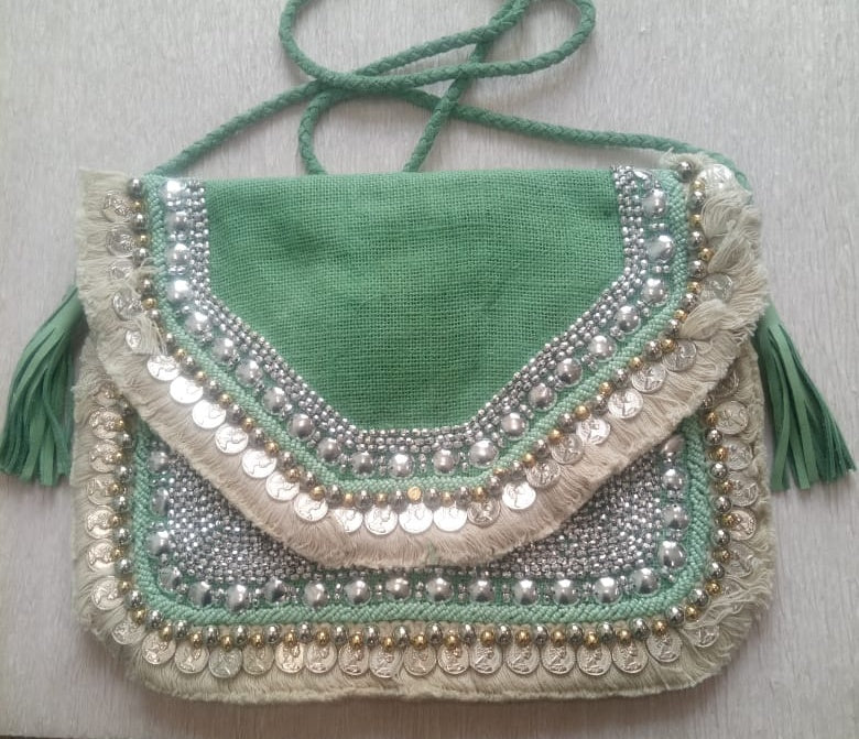 Mint Jute Coin Clutch
