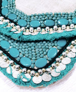 Turquoise White Jute - Glass Beads Bag1