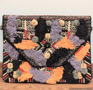Luwak Black Bohemian Clutch Boho Bag