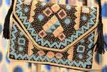 Shimla Black Beaded Bohemian Clutch Boho Bag