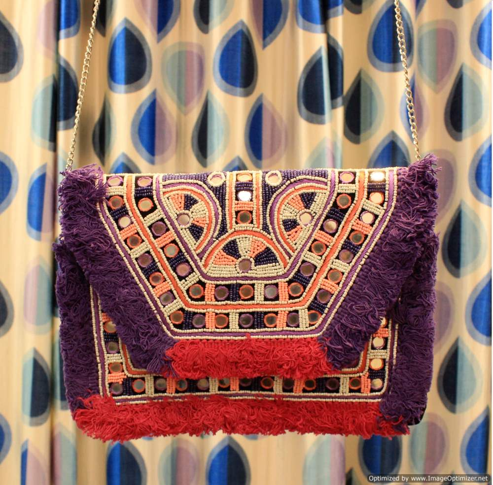 Pink Purple Beaded Boho Bag