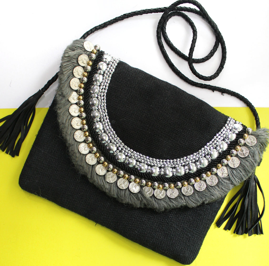 Onyx Black Jute Coin Clutch