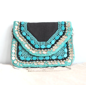 Turquoise Vaso - Glass Beads Bag, Chain Sling