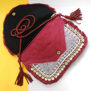 Analise Maroon Jute Coin Clutch