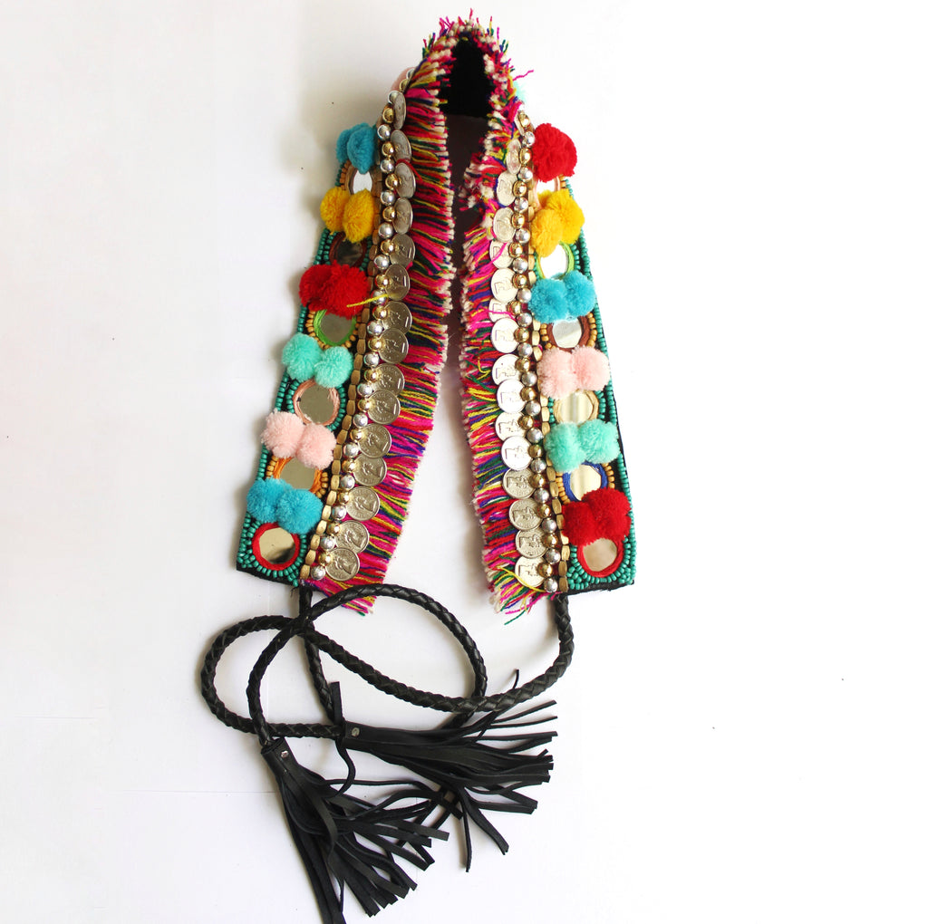 Bohemian Coin Waist Belt - Rainbow